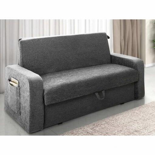 sofa cama com bau daiane cinza
