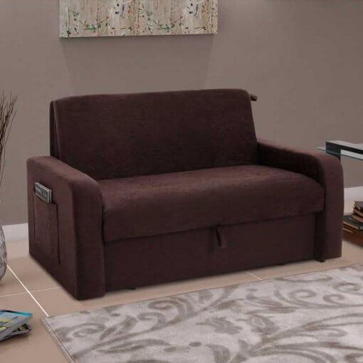 sofa cama com bau daiane marrom