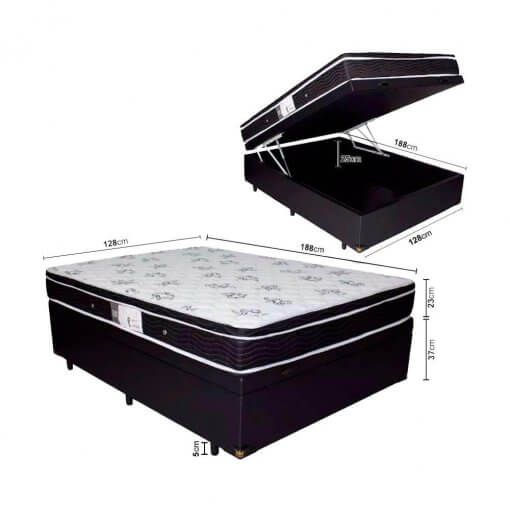 Cama Box Com Bau Viuva com Colchão De Molas Ortobom Physical Nanolastic 128cm medidas