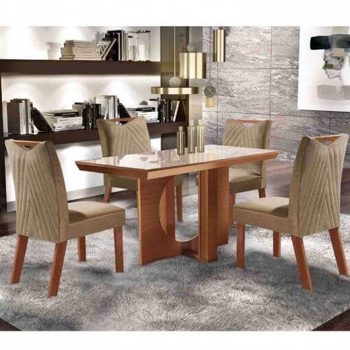 Conjunto Mesa Frisa Sala de Jantar Com 4 cadeiras Castanho Premium Tampo Off White MDF