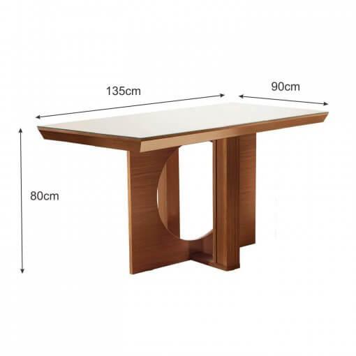 Conjunto Mesa Frisa Sala de Jantar Com 4 cadeiras Castanho Premium Tampo Off White MDF medidas