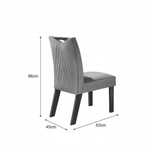 Conjunto Mesa Frisa Sala de Jantar Com 4 cadeiras Castanho Premium Tampo Off White medidas