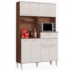 Cozinha Compacta Flavia com 7 Portas e 2 Gavetas Capuccino