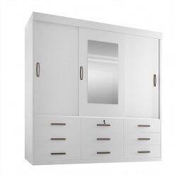 Guarda-Roupa Casal Ipanema 3 Portas de Correr e 9 Gavetas Espelho Branco