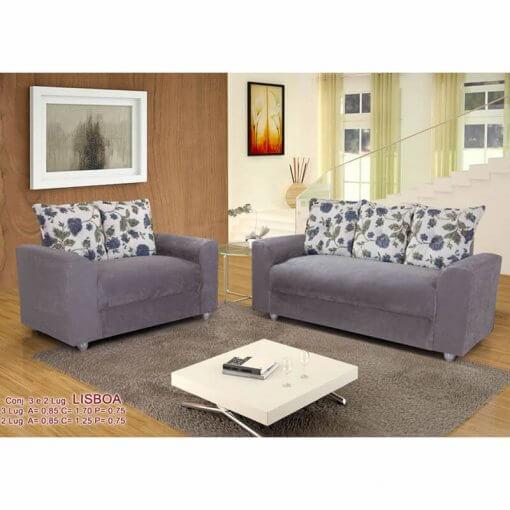 Sofa 2 e 3 lugares Lisboa com Almofadas Cinza