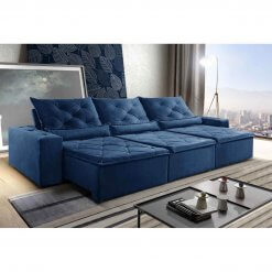 Sofa Retratil Reclinavel Castelo 290cm Azul