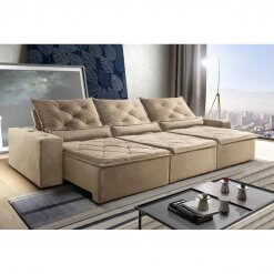 Sofa Retratil Reclinavel Castelo 290cm Bege