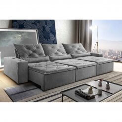 Sofa Retratil Reclinavel Castelo 290cm Cinza