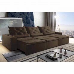 Sofa Retratil Reclinavel Castelo 290cm Marrom
