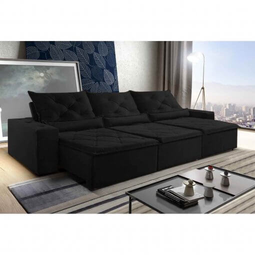 Sofa Retratil Reclinavel Castelo 290cm preto