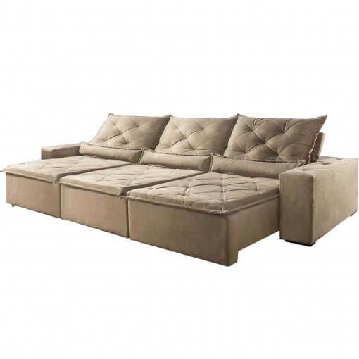 Sofa Retratil Reclinavel Castelo Bege 290cm