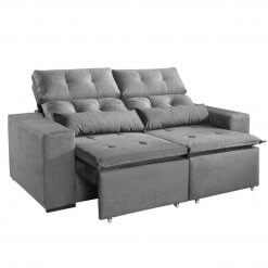 Sofa Retratil e Reclinavel Uba 195cm Cinza
