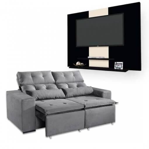 Sofa-Retratil-e-Reclinavel-Uba-2m-Painel-DON-Para-TV-ata-42-Polegadas-Cinza-Preto