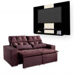 Sofa-Retratil-e-Reclinavel-Uba-2m-Painel-DON-Para-TV-ata-42-Polegadas-Marrom-Preto