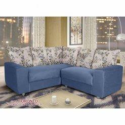 Sofa de Canto 5 Lugares Toronto Tecido Suede Azul