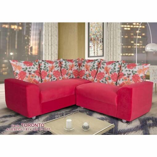 Sofa de Canto 5 Lugares Toronto Tecido Suede Vermelho