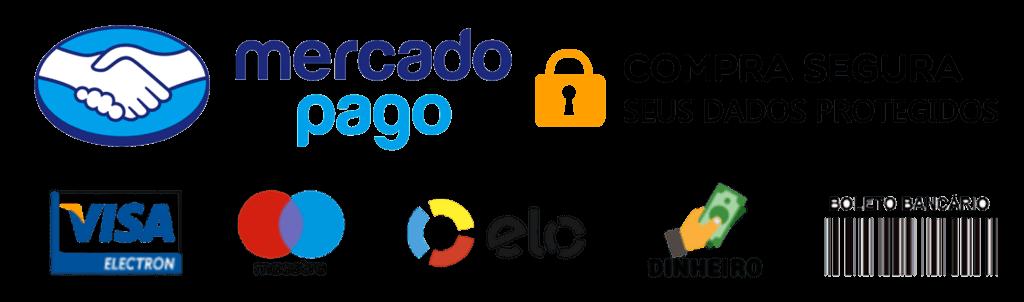 Bandeiras de Cartões de Crédito, Boleto e Mercado Pago.