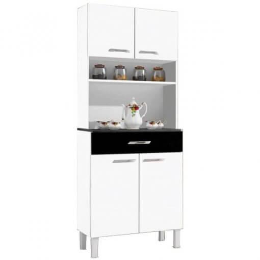 Armario Kit Cozinha de Madeira Com 4 Portas 1 Gaveta Alfa Branco com Preto