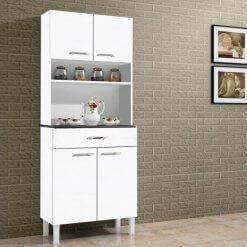 Armario Kit Cozinha de Madeira Com 4 Portas e 1 Gaveta Alfa Branco