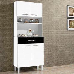 Armario Kit Cozinha de Madeira Com 4 Portas e 1 Gaveta Alfa Branco com Preto