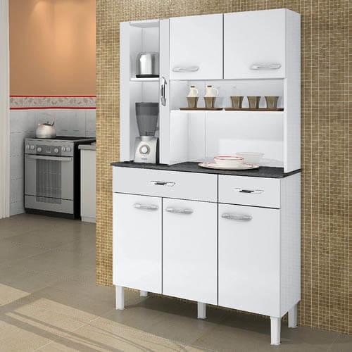 Armario Kit de Cozinha Alfa 6 portas Salleto Moveis branco