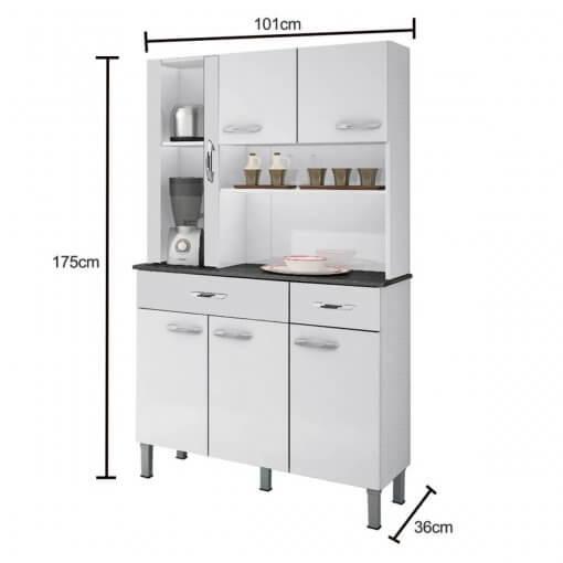 Armario Kit de Cozinha Alfa 6 portas Salleto medidas