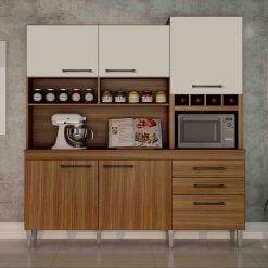 Armario para Cozinha 6 Portas 2 Gavetas ebano CHF Carvalho Offwhite