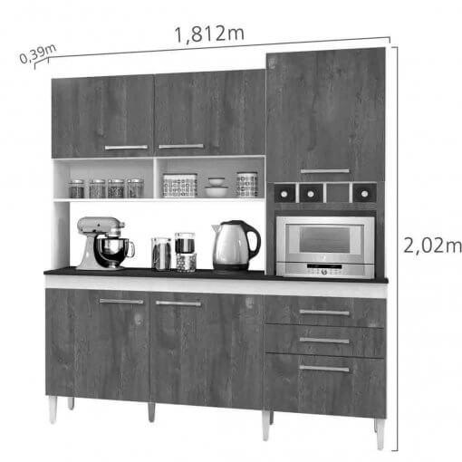 Armario para Cozinha 6 Portas 2 Gavetas ebano CHF Carvalho Offwhite medidas