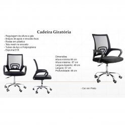 Cadeira de Escritorio Giratoria Base Cromada Preta 9050 detalhe