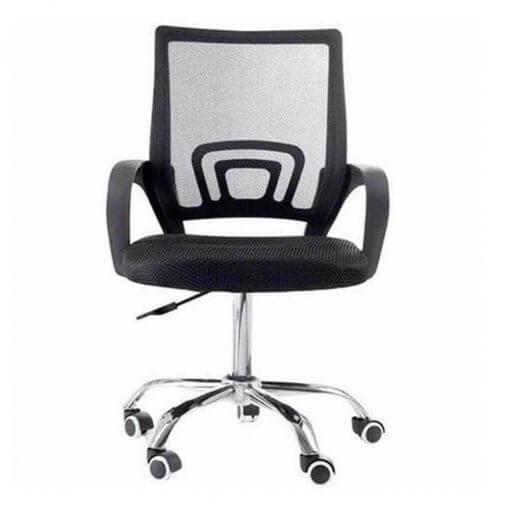 Cadeira de Escritorio Giratoria Com Base Cromada Preta 9050