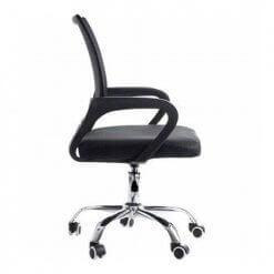 Cadeira de Escritorio Giratoria Com Base Cromada Preta 9050 de lado