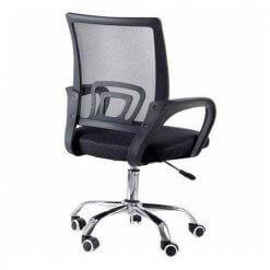 Cadeira de Escritorio Giratoria Com Base Cromada Preta 9050 fundo