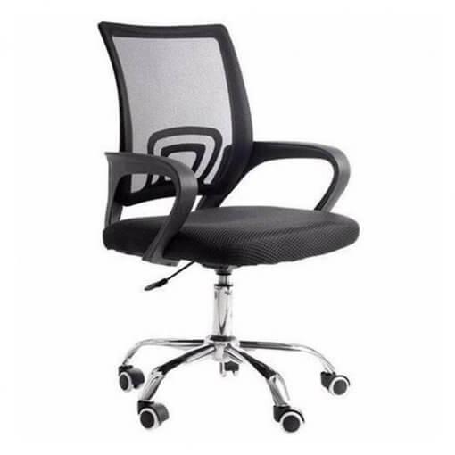 Cadeira de Escritorio Giratoria Com Base Cromada Preta 9050 perfil