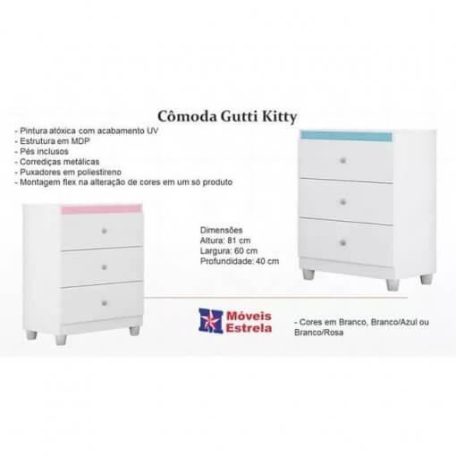 Comoda Gutti Flex Moveis Estrela detalhe