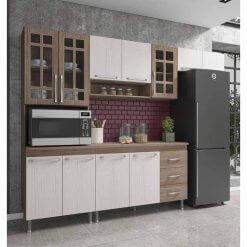 Cozinha Mery Modulada 4 Pecas 11 Portas 3 Gavetas Noce Salinas