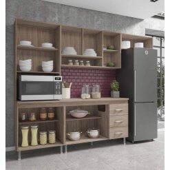 Cozinha Mery Modulada 4 Pecas 11 Portas 3 Gavetas Noce Salinas aberta