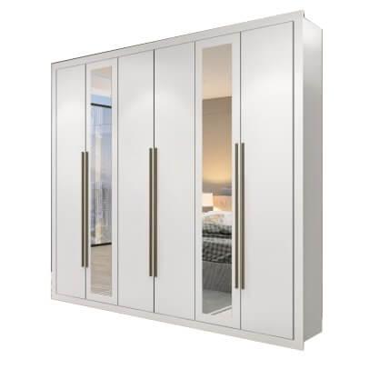 Guarda Roupa Casal 6 Portas California Maxel branco espelho