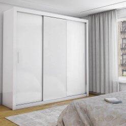 Guarda Roupa Casal Berlim Sem Espelho e 3 Portas de Correr branco