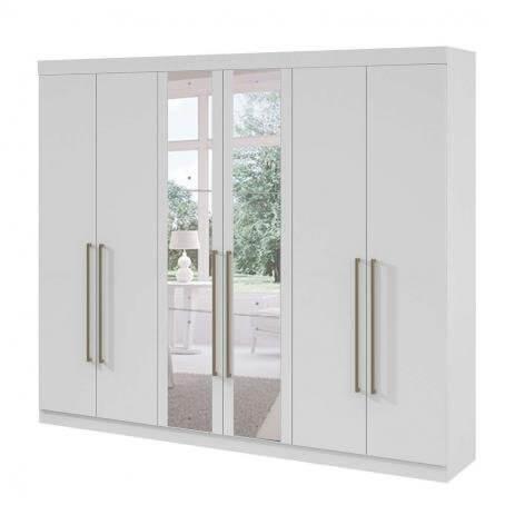Guarda-Roupa Casal com Espelho Castellaro 6 Portas 6 Gavetas Lopas