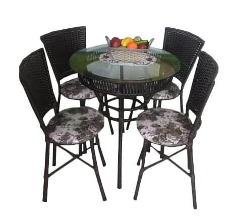 Jogo de Mesa Vime Redonda com Tampo de Vidro e 4 Cadeiras