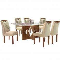 Mesa Moscou 170×090 com 6 cadeiras Oxford-Cel Moveis