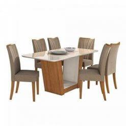 Mesa de Jantar Apogeu com 6 Cadeiras Moveis Lopas