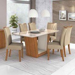 Mesa de Jantar Apogeu com 6 Cadeiras Moveis Lopas Imbuia