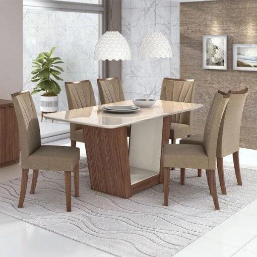 Mesa de Jantar Apogeu com 6 Cadeiras Moveis Lopas Rovere