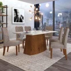 Mesa de Jantar Sorela Tampo em Vidro Com 6 Cadeiras