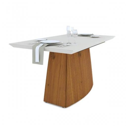 Mesa de Jantar Sorela Tampo em Vidro Com 6 Cadeiras Terrara Off White