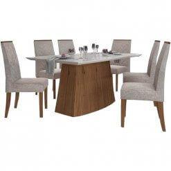 Mesa de Jantar Sorela Tampo em Vidro Com 6 Cadeiras Terrara Off White Dj Moveis