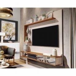 Painel para TV Allune Off White com Freijo Germai