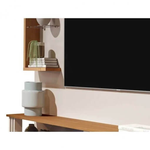 Painel para TV Allune Off White com Freijo Germai Moveis detalhes