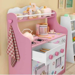 Porta Brinquedos Kitchen Moveis Estrela branco rosa